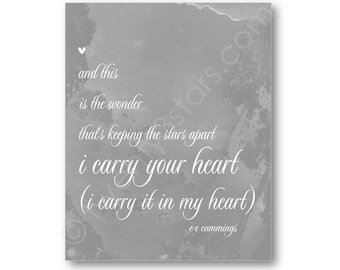 I Carry Your Heart Art, e.e. cummings poem quote Poster, I Carry it in My Heart Canvas, EE Cummings Art Poster, I Carry Your Heart Art Print