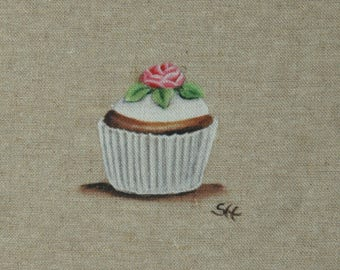 Coupon cup cake illustration pink flower fabric embellishment culinary variety support