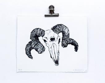 Third Eye - Screen Printed artwork of ram skull with a third eye. Black and White hand pulled silk screen print.