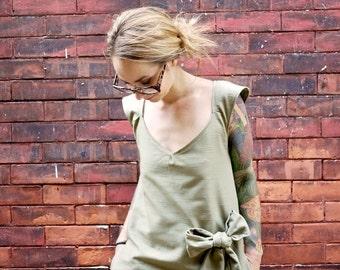 Green Grey Cap Sleeve A Line V Neck Bow Dress with Pockets|Plus Size Dress|Party Dress|Day Dress|Maternity Dress|Low Cut Dress|Sexy Dress|