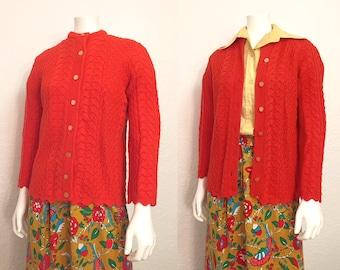 Vintage Cardigan / Knit Cardigan / Retro Cardigan / Orange Cardigan / Small Cardigan / Small Sweater / Crewneck Sweater
