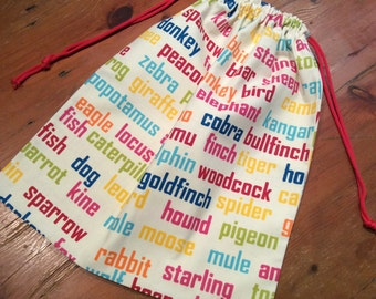 Library Bag, 42cm x 38cm Large,  Drawstring, Multi Colour Animal Word