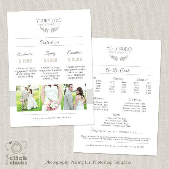 Wedding Photography Pricing List Template Photography
