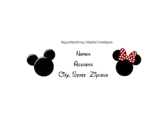 Mickey Minnie Inspired Return Address Labels - Many Choices - Great for Twins-  You Print