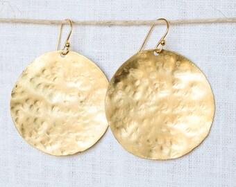 """Gold """"Full Moon"""" Earrings"""