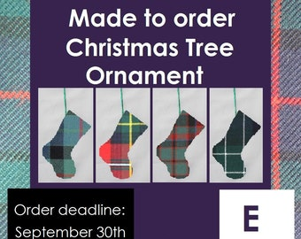 Tartan stocking, Christmas tree ornament, E Tartans like Earl of St Andrews, Edinburgh, Eildon, Elliot, Erskine, Etive, Ettrick