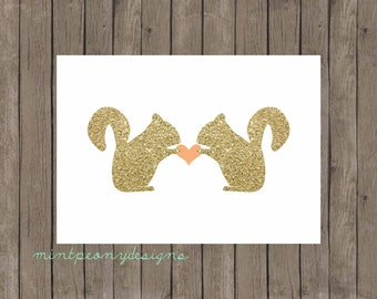 Gold Glitter Squirrel Love.  5x7 digital printable.  Nursery/home decor digital print.