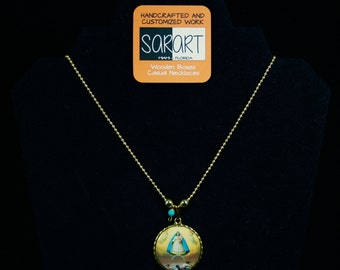 Our Lady of Charity Medal. Handmade Pendant. Padre Nuestro Spanish prayer.Religious. Catholic. Gold Ball Chain Necklace. Caridad del Cobre