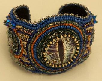 Bead Embroidered Seeing Eye Bracelet Blue