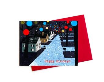 Christmas Cards, Holiday Lights Card Boxed Set, Greensboro Christmas Balls