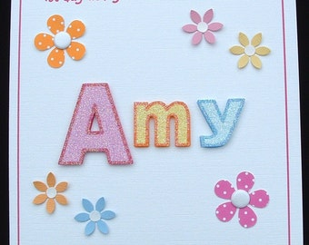 1st day at nursery card, 1st day at big school card, personalised, handmade card