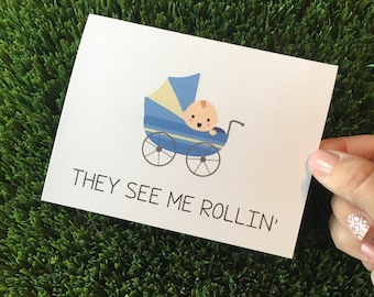 Funny Baby Card - Baby Stroller Card - Baby Shower Card - New Parents Card - Welcome Baby Card