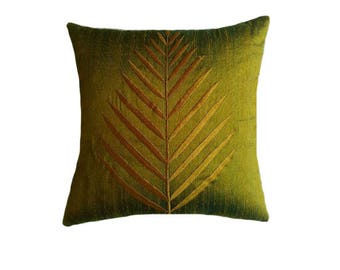 Moss green dupioni silk parm leaf embroidered throw pillow decorative moss green with blue shrt cushion cover.18inch.2in stock.20% discount