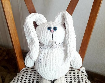 White crochet bunny with long ears  Amigurumi toy  Stuffed animals  Soft  toy for children Gifts for kids Gift to Easter