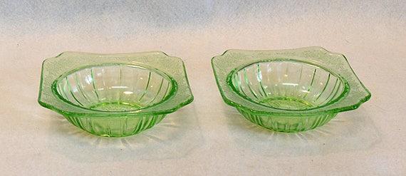 2 Vintage Adam Green Depression Glass Bowls.. Uranium Vaseline.. Jeannette 1932-34