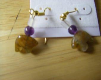 Fluorite and amethyst bear earrings