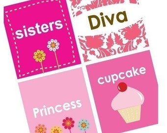 Diva Girly Sayings -7/8 (.875) Inch Pendant Images - Digital Sheet - BUY 2 GET 1 FREE
