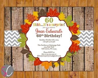 Surprise Birthday Party Invite Rustic Autumn Fall Leaves 50th 60th Printable Invitation 5x7 Digital JPG File (326)