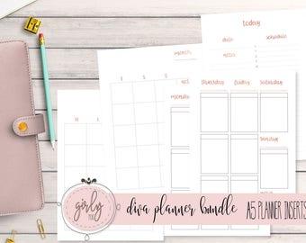 "ESSENTIALS PLANNER BUNDLE | Planner Printable Inserts A5 | ""Diva Planner Collection"""