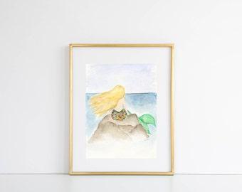 Mermaid Watercolor Print