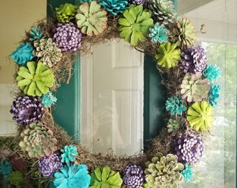 Fun Pinecone Succulent Wreath