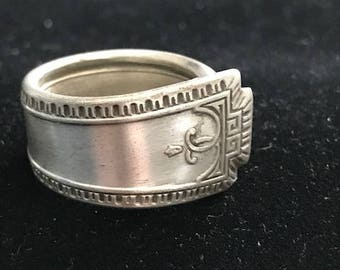 Size 8 handcrafted vintage flatware/silverware ring