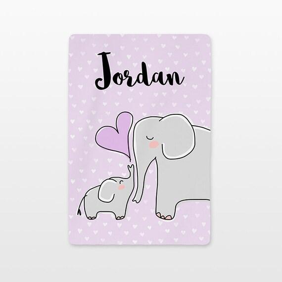 Elephant Baby Blanket Personalized Name Custom Unisex Baby Girl Baby Boy Kids Minky Fleece Newborn Gift Idea Animal Gray Lavender Purple
