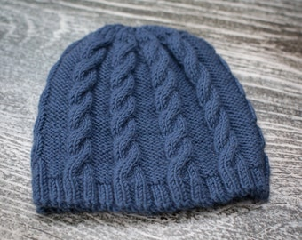 Hand Knit Baby Cable Beanie Hat - Denim Blue - 3-6m - Ready to Ship, UK Seller
