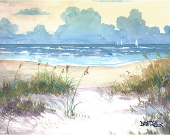 Watercolor landscape sea oats Painting PRINT sailboats sailing seascape ocean sunset beach surf Giclee Reproduction yellow teal taupe