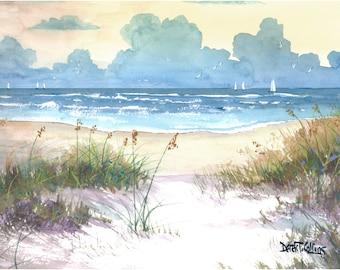 Aquarelle paysage mer avoine peinture impression bateaux à voiles naviguant le seascape beach sunset d'océan surf taupe teal giclée Reproduction jaune