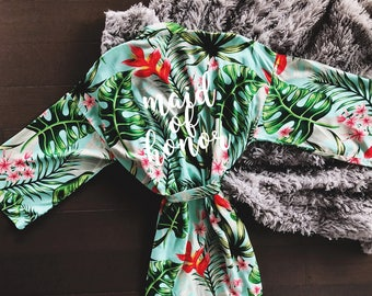 Mint Green Tropical bridesmaid robe - bridesmaids robe - bride robe - palm leaves robe - wedding robes - custom robes - personalized robes