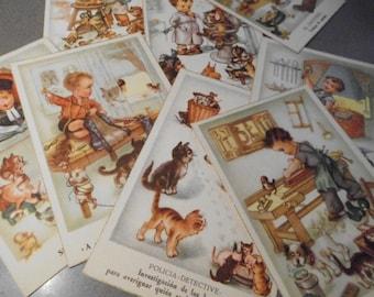 Cartes postales anciennes, Lot de neuf cartes postales des métiers
