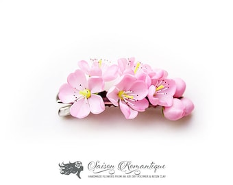 Hair clip Cherry Blossom - Polymer Clay Flowers - Mothers Day Gift for Women Hair clip Pink Gift For Her Flower Sakura Hair clip