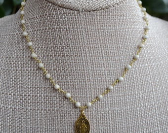 Rosary Style Necklace with Miraculous Medal