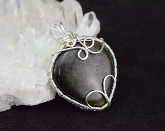 Gold Obsidian - Wire wrapped silver plated copper wire pendant