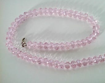 Vintage Necklace, Pink Faceted Glass Beads, Amazing Sparkle, Adjustable Length, Never Worn, Circa 1970s, Includes Gift Box