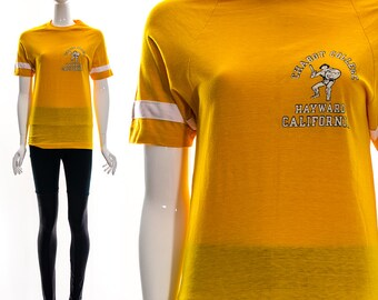 Vintage 70s 80s Marigold Yellow CHABOT COLLEGE Hayward CALIFORNIA Athletic Sports Jersey Ringer Tee Mesh See Through Sheer Collegiate xs s m