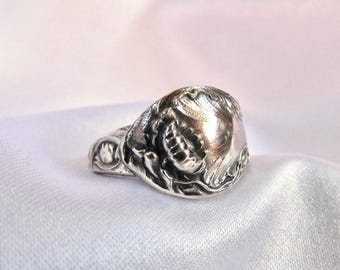 Spoon Ring Lotus Symbolic Of Enlightenment And Cat Tail Symbolic Of  Abundance Art Nouveau Pond Theme