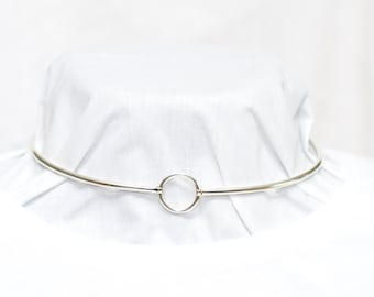 New Design, Discreet Day Collar, 3mm sterling silver (8g), Padlock clasp, Hinged Front O ring, Handmade BDSM Collar