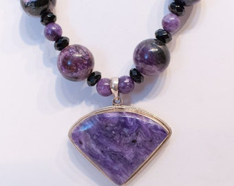 Charoite and Onyx Necklace with Charoite and Sterling Pendant and Chain