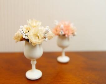 1:12 Cream White Pastel Blossoms Milk Glass Floral Arrangement, Flowers Bouquet in Wine Vase OOAK one inch scale dollhouse artisan miniature