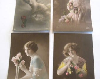 French Postcards 1920's - Set of 4