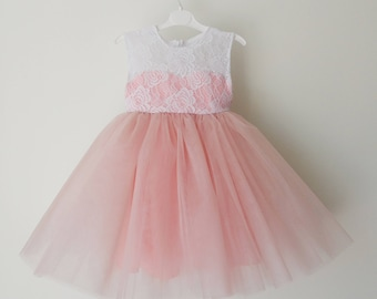 Blush pink flower girl dress, tulle dress, princess dress, white lace dress, birthday, wedding, non-sleeve dress, gift, present