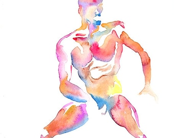 Original Watercolor, 25% off SALE! painting, live model, man, male, figure, frontal, nude, masculine, gift, home decor, wall art, unframed