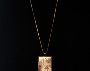 Steampunk - Microscope Slide Necklace - Double Sided - Victorian