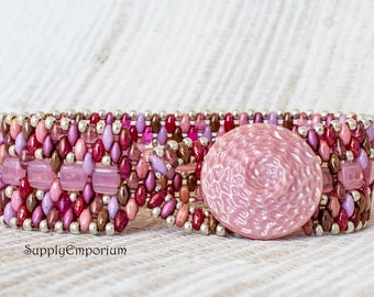 Mixed Pink Bead Woven Bracelet, Tile and Superduo Beaded Bracelet, Wide Bead Woven Cuff Bracelet