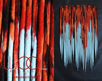 Wool Dreadlocks | Double Ended | Red | Orange | Blue | Ombre | Woolen | Cosy | Warm