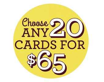 Choose Any 20 Cards - Greeting Card Set, Birthday Cards, Valentine's Day Cards, bulk cards, Special Occasions, Card Sets, Pack of Cards