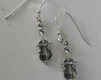 Sterling Silver CELLO Earrings -- Music, Musician, Musical Instrument