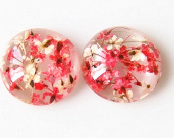 6pcs  of resin cabochon dome 12mm round real dry flower inside RC1021-white and red